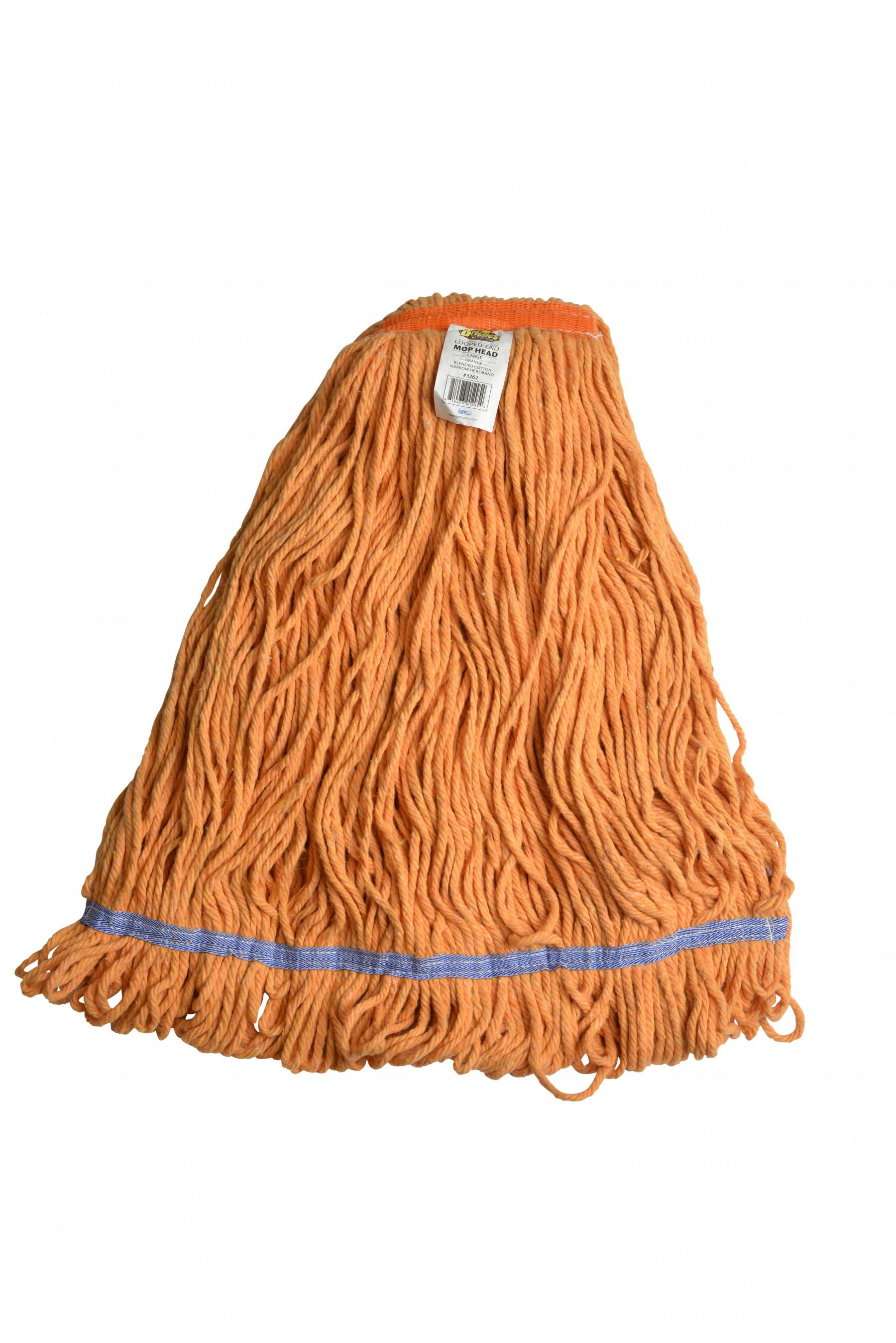 large orange blended cotton 1 inch narrow headband looped end mop head - Mop Head