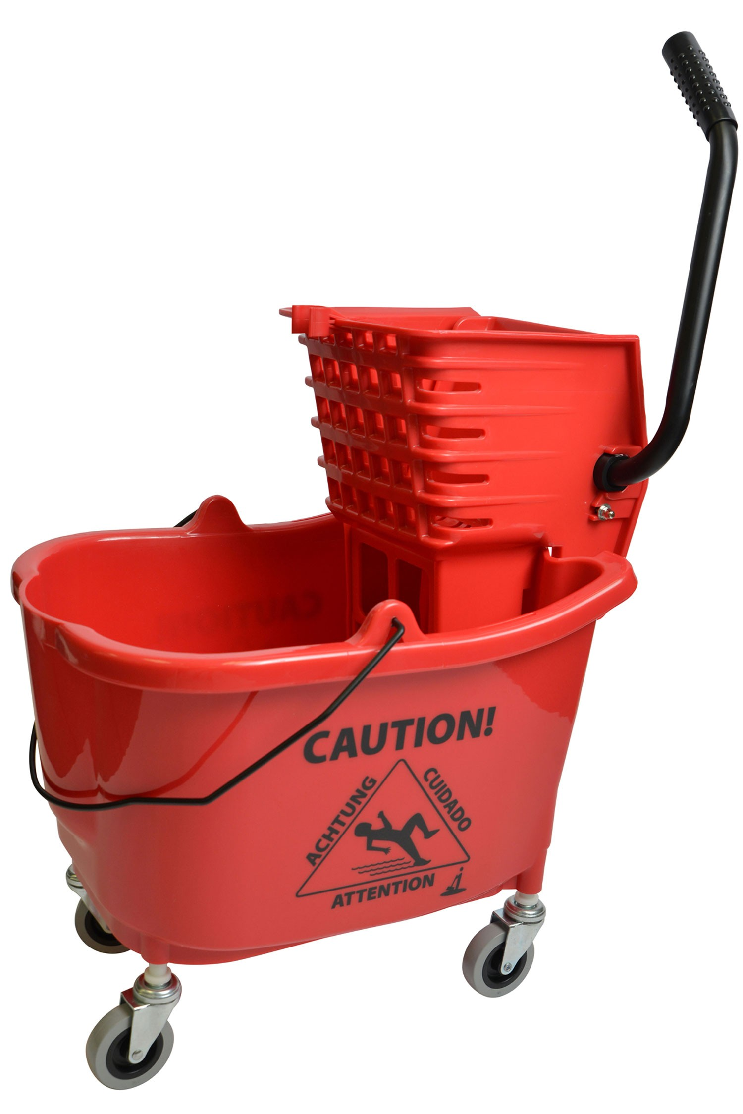 Mop Bucket With Side Press Wringer Combo 35 Quart Red