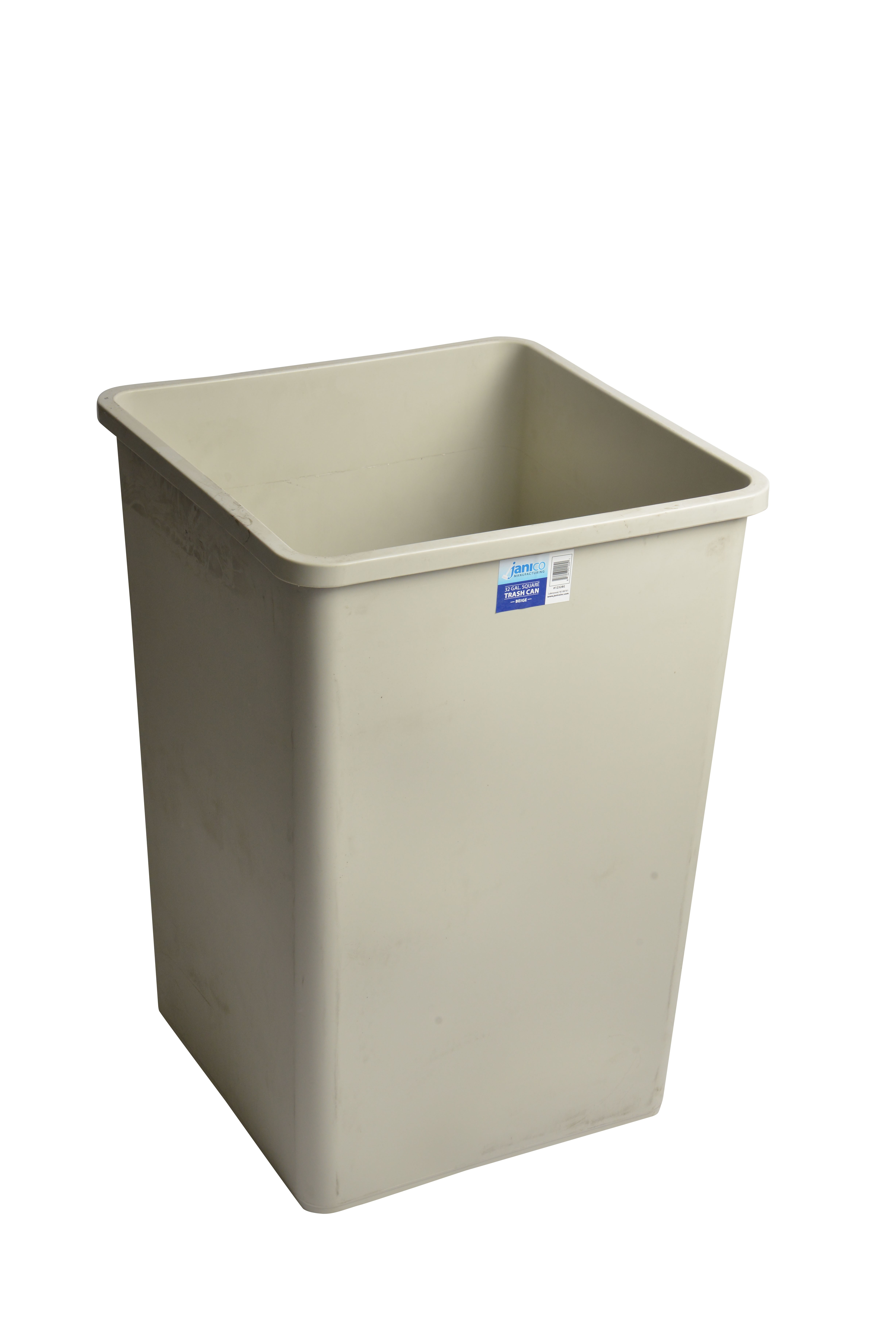 1232be Beige Square Garbage Can With 32 Gallon Capacity