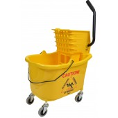 Angle view of mop bucket with side press wringer