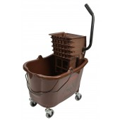 1010BR Mop Bucket With Side Press Wringer Combo 35 Quart Brown