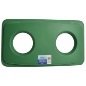 1023-05GN Green Rectangular Garbage Can Lid with Two Holes for Cans