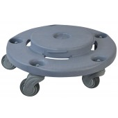 1041 Quiet Garbage Trash Can Round Dolly with Heavy Duty Non Marking Casters, Fits 22 32 44 55 Gallon Cans, Grey, 18 Inch x 18 Inch x 6 Inch
