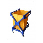 1054 Blue X Frame Laundry Cart