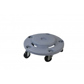 1040 Garbage Trash Can Round Dolly with Bolted Casters, Fits 22 32 44 55 Gallon Cans, 18 Inch x 18 Inch x 6 Inch, Grey