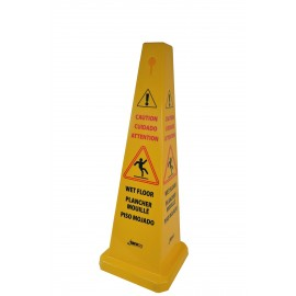 Janico 1072 Wet Floor Sign Safety Caution Cone, 4 Sided Caution, Multi Lingual, 36 Inch High, 12 Inch Base, Yellow