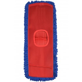 """6418 5"""" by 18"""" Microfiber Fringed Dry Mop Pads with Canvas Backing"""