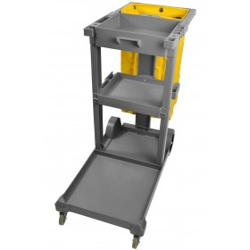 1050GY Janitor Housekeeping Utility Cart, Janitorial Cleaning Cart, Grey